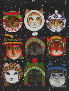 Cats In Winter Hats Mixed Media by Anni Morris
