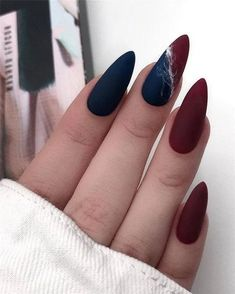matte nails and Hottest Matte Nail Art Designs Ideas 2019 Purple Nail, Red Nails, Burgundy Nails, Oval Nails, Burgundy Color, Black Nails, Matte Almond Nails, Matte Nail Art, Nail Nail