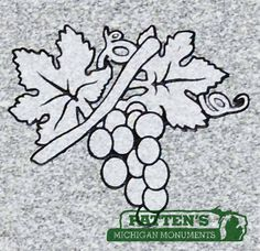 Custom made line art, grapes on branches with leaves.