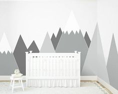 NURSERY Mountain Wall Art headboard Wall Decal Wall Protection for kids Corner Wall Sticker Washable self adhesive scandinavian Decor