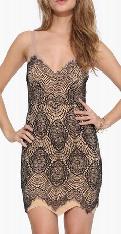 Once Loved Lace Dress in Tan