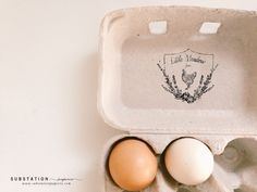 Vintage Floral Chicken Stamp for Egg Cartons - by Substation Paperie