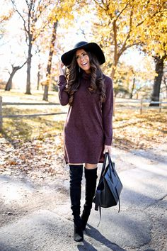 "NOVEMBER 20, 2015 Thanksgiving Dinner Outfit Idea - SWEATER DRESS: WAYF (wearing size small in the 'brown') | BOOTS: Stuart Weitzman (went up half a size!) (Great dupes for these boots HERE & HERE) | BAG: Celine (craving THIS handbag & love this one!) | HAT: BP (I love these floppy hats – this is my 3rd one- $34!) | EARRINGS: BP ($16!) (I also adore THESE.) | RING: David Yurman | LIPS: ""Myth"" lined w/ ""Stripdown"" 