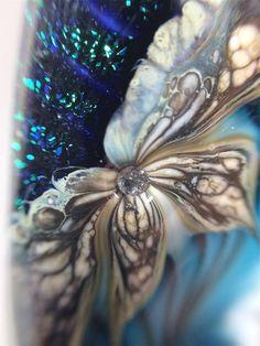 Dichroic Sea Green Feather Lampwork Bead by NightFlowerBeads, $60.00