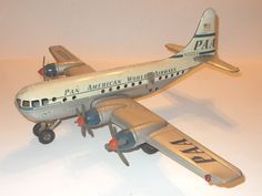 Large Vintage Gama Pan Am World Airways Tin Friction Airplane Toy