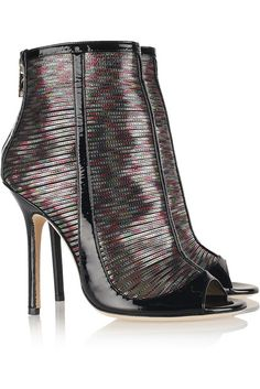 Kemp Hologram-Effect Patent Leather Ankle Boots by Jimmy Choo