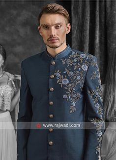 Peacock Blue Indo Western For Wedding Kurta Designs, Blouse Designs, Marriage Dress For Men, Suit Fashion, Mens Fashion, Mens Ethnic Wear, Indian Groom Wear, Mens Designer Shirts, Wedding Dress Men