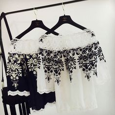 Summer embroidery slit neckline strapless top print lace chiffon shirt female loose slash neck cute shirt