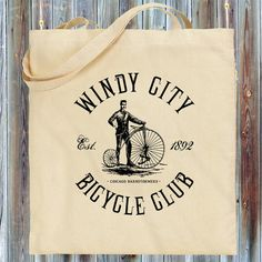 "Our vintage-style ""Windy City Bicycle Club"" tote/shopping bag.  Represent for Chicago, Illinois, and cycling! We designed this with an old school feel, complete with vintage cycle, Windy City Bicycle Club text, and the cycling club Chicago Barnstormers, est. 1892. Extremely soft print for a vintage look and feel. It's available in your choice of several colors."