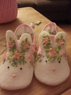 Dainty Bunny Slippers by HopeForRyan on Etsy, $50.00