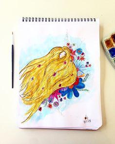 girl, flower, illustration, watercolor, paint, draw, art