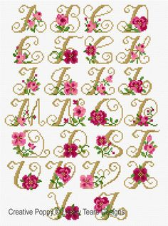 <b>Alphabet - Roses</b><br>cross stitch pattern<br>by <b>Lesley Teare Designs</b> Small Cross Stitch, Cross Stitch Bird, Cross Stitch Borders, Cross Stitch Flowers, Cross Stitch Designs, Cross Stitching, Cross Stitch Embroidery, Hand Embroidery, Cross Stitch Alphabet Patterns