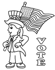 Coloring Pages Depicting Uncle Sam, Voting Booths, And More