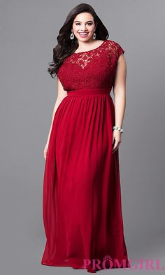 83d757fc56d1 Image of plus-size long formal prom dress with lace bodice. Style  LP