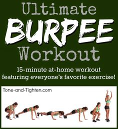 Increase strength, increase endurance, and perfect your burpees with this amazing at-home workout! #workout #fitness from Tone-and-Tighten.com #weightlossrecipes