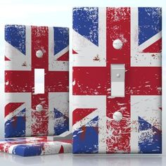 DIY Do It Yourself Home Decor - Easy to apply wall plate wraps | Brushed Union Jack Flag  British England flag  wallplate skin sticker for 1 Gang Toggle LightSwitch | On SALE now only $3.95
