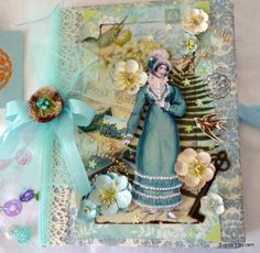 Front of blue Regency lady journal in my etsy shop. www.susiea.etsy.com