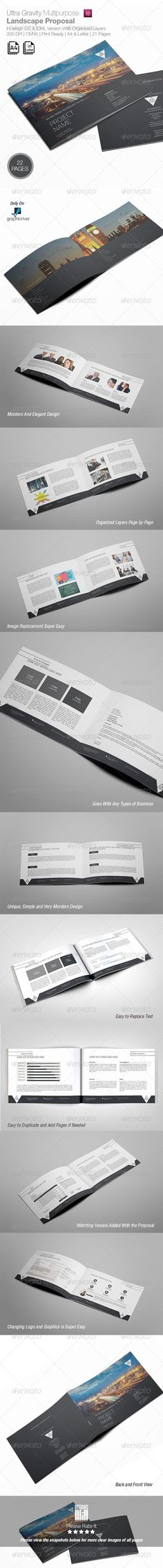 Ultra Gravity Multipurpose Landscape Proposal by designsmill DetailsInDesign File with Properly organized layers 22 Pages Professional fully Editable InDesign File (.indd   .IDML ) 1 Front Co