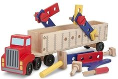 Buy Melissa & Doug: Big Rig Building Truck Wooden Play Set at Mighty Ape NZ. This tough, two-piece tractor-trailer is ready to roll . and ready to build! Packed with wooden construction pieces and pre-drilled with holes fo. Big Rig Trucks, Toy Trucks, Fire Trucks, Wooden Playset, Wooden Toys, Wooden Truck, Wooden Buildings, Melissa & Doug, Riga