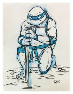 Nothing better than drawing with brushpen and pencils on paper.  Here's Leonardo from your favorite Turtle gang.