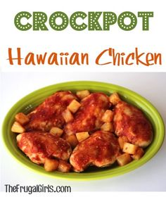 It's time for a Crockpot Hawaiian Chicken Recipe! Just 4 ingredients, and you've got a super dinner loaded with aloha flavors! Crock Pot Food, Crockpot Dishes, Crock Pot Slow Cooker, Pressure Cooker Recipes, Slow Cooker Chicken, Crockpot Recipes, Chicken Recipes, Cooking Recipes, Healthy Recipes