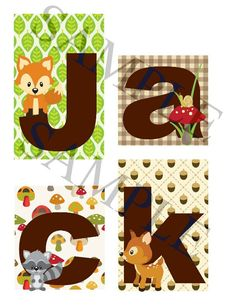 Woodland Forest Friends Personalized Blocks by slcshop on Etsy