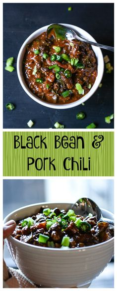 This Black Bean And Pork Chili is amazing. It's made with bone broth and tons of healing spices. It's easy and delicious and perfect for football season. Pork Chili Recipe, Chili Recipes, Soup Recipes, Fall Recipes, Healthy Dinner Recipes, Clean Eating, Healthy Eating, Healthy Food, Organic Cooking