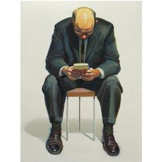 "*Art fix for today:  ""Man Reading""  Wayne Thiebaud"