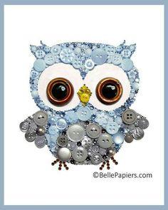 Customizable Owl Cute Nursery Owl Art Button Art by BellePapiers - Crafts For Us Hobbies And Crafts, Diy And Crafts, Crafts For Kids, Arts And Crafts, Summer Crafts, Jewelry Crafts, Jewelry Art, Owl Nursery, Nursery Crafts