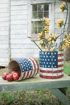 Set of two Round Wooden Flag Planters at Hudson and Vine. One of kind home decor ideas to meet your individual interior decorating style and to celebrate your patriotism for the U. Perfect for your rustic, ranch, or farmhouse decorating style and Americana Crafts, Patriotic Crafts, July Crafts, Holiday Crafts, Holiday Ideas, Rustic Americana Decor, Patriotic Flags, Western Crafts, Patriotic Party