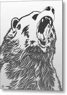 Angry Bear Metal Print By Guillaume Bachelier