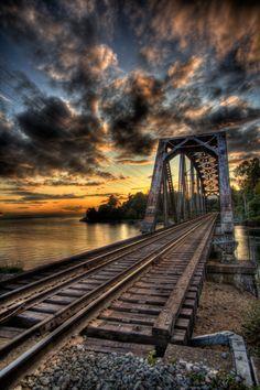 Old railroad bridge over the Capilano River, Vancouver, B.C., Canada