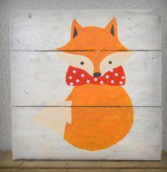 Tableau Renard Noeud Papillon - Décoration Chambre Enfant - 30x30cm : Décoration pour enfants par art-et-palette