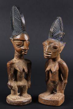 AFRICAN FIGURES - Yoruba People, Nigeria, Two Ibeji Twin Figures, both female, 20th c.