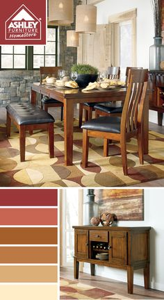 Warm red-to-yellow tones for my kitchen! (Ralene Dining Room - Ashley Furniture HomeStore)