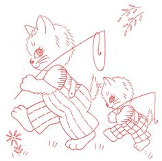 Vintage Embroidery - Kitty Family DOW - Fishing
