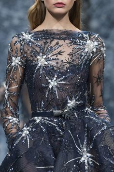 Ziad Nakad at Couture Fall 2017 (Details Is it just me or does it look like she's got bird poop splattered all over her? :-)