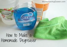 HoMeMaDe KiTCHeN DeGREaSeR ___Make this DeGREaSeR & Remove Stubborn, Sticky, Greasy Film From KiTCHeN Surfaces like Stoves, Light Fixtures & Ceiling Fans. Just spray & wipe, that's it. Keep it mixed in a Sprayer Bottle, handy for a quick cleaning. Combine 1 part DiSTiLLeD WHiTe ViNeGaR 1 part WaTeR 1 TaBLeSPooN degreaser soap like DaWN