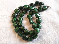 Vintage Murano Givre Glass Bead Necklace in Green. by GothiqueGirl on Etsy