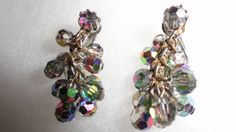 Judy Lee Retro Aurora Borealis Dangle Chandelier French Clip On Earrings by TimsSecretTreasures on Etsy