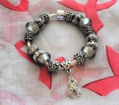 Gray Awareness Bracelet  A European Style Silver Plated