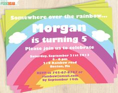 Pastel Rainbow Birthday Party Editable-text Invitation Set  by PixieBear.com
