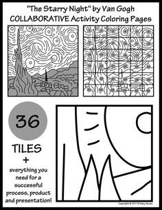 """36 """"tiles"""" for your students to design + everything you need for a successful process, product and presentation. Final artwork measures 45"""" x 45."""" """"Starry Night"""" collaborative project."""