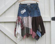 Boho skirt XS-S, Rustic skirt, tattered denim skirt, denim pixie skirt, Upcycled clothing, Eco upcycled clothing