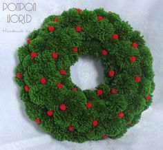Green Christmas Wreath, Holiday Wreath, Pom Pom Wreath, New .- Green Wreath Pom Pom Christmas Wreath Green by PomPomMyWorld Source by astridschoenert - Natural Christmas, Colorful Christmas Tree, Green Christmas, Christmas Diy, Europe Christmas, Christmas Tables, Christmas Vacation, Christmas 2019, Pom Pom Wreath