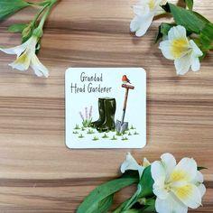Head Gardener Coasters | Single, Set of 4 or Set of 6 | Garden Gifts - Single Coaster / No Thank You