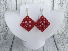Red tatted earrings Tatting earrings lace earrings Red flower
