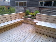 The design for this deck was inspired by HIghline Park in New York. The homeowner had recently been there on a trip and really liked the style of the site furniture in the park. The homeowner did not want any deck furniture.any seats or tables had to b Patio Design, Garden Design, Flower Garden Borders, Highline Park, Outdoor Pergola, Outdoor Decor, Built In Seating, Seating Areas, Deck Furniture
