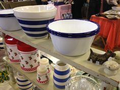 Enamel bowls (14 cm) lovely for picnics and look great with herbs and plants in them too