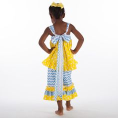 Lolly Wolly Doodle Girl's Blue Chevron Yellow Dot Tie Back Capri Set.  Available at lollywollydoodle.com